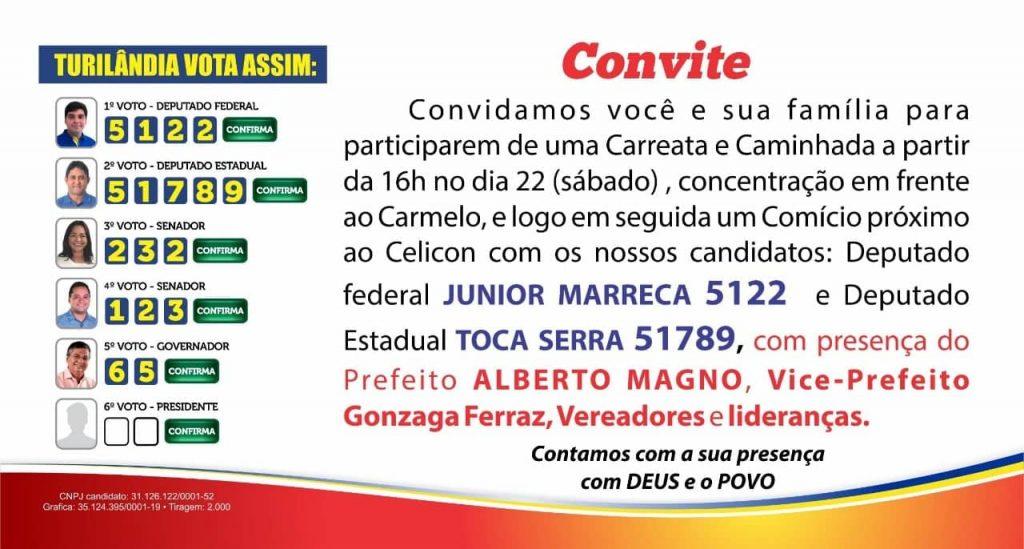 Toca Serra participa de ato político em Turilândia neste sábado