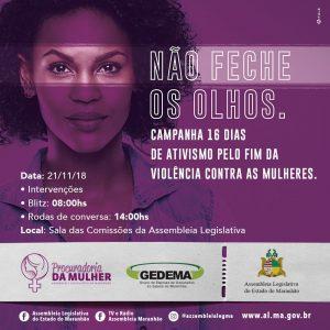 Procuradoria da Mulher realizará atividades alusivas à campanha pelo fim da violência contra as mulheres