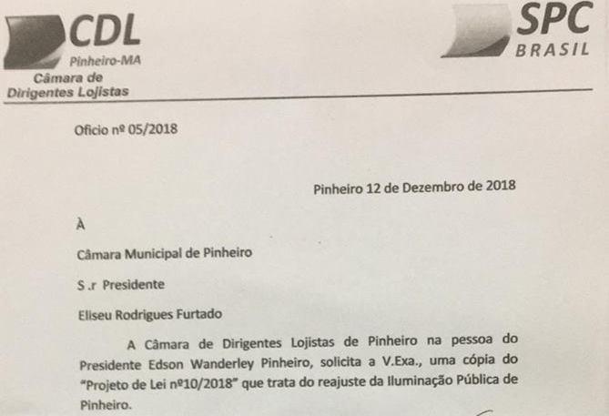 Pinheiro – Projeto que aumenta taxa de Iluminação Pública em até 300% vira queda de braços entre prefeito em empresários que solicitam cópia à Câmara Municipal