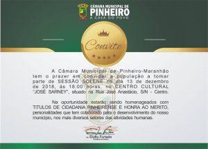 Câmara Municipal convida para Solenidade de Entrega do Título de Cidadão Pinheirense