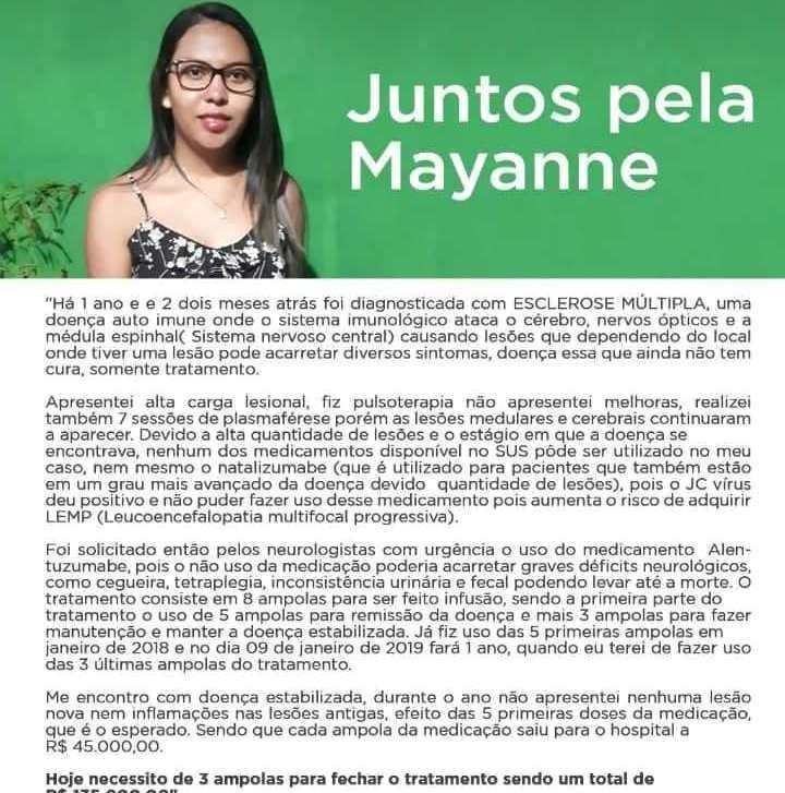 Ajude no tratamento da jovem Mayanne