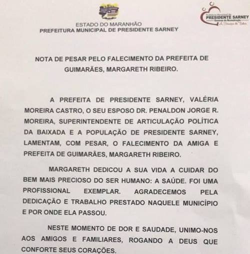 Prefeitura de Pres. Sarney emite nota de pesar pelo falecimento da prefeita Guimarães Margarete Ribeiro