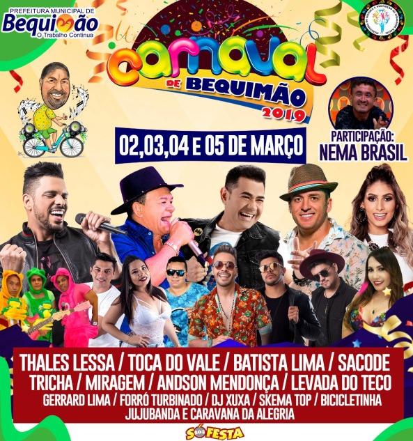 Prefeitura de Bequimão divulga Programação Oficial do Carnaval 2019