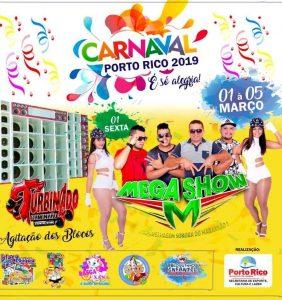 Prefeitura de Porto Rico divulga programação do Carnaval 2019