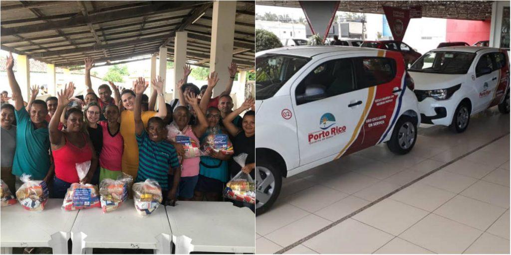 Recursos próprios – Prefeitura de Porto Rico distribui cestas de alimentos e entrega novos veículos a secretarias